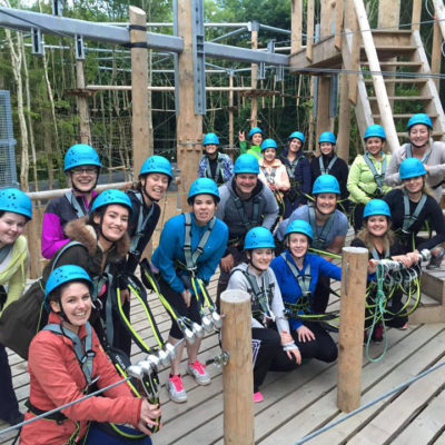 Group of people ready for the zipline