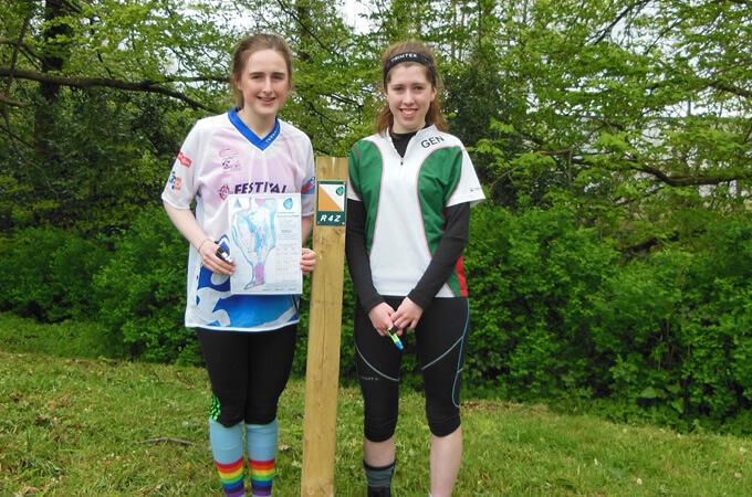 Two girls Orienteering