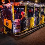 Train with fairy lights during christmas