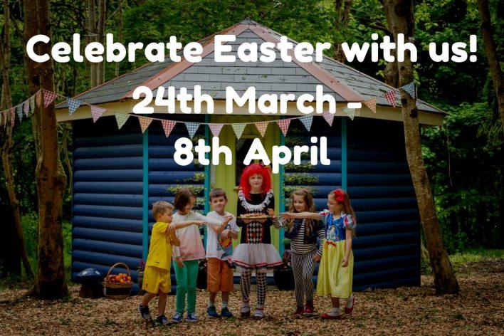 Children in costumes at elf village, Easter celebration flyer