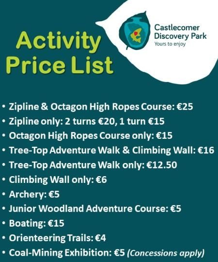 List of prices for activities